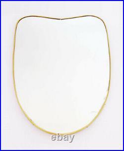 Mid Century Wall Mirror Wavy Shield Brass Italian Design 1950s Gio Ponti Vintage