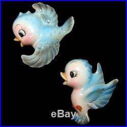 Mint! Vintage LEFTON PY BLUEBIRD Mom Baby WALL PLAQUE Bird Hanging Figurines
