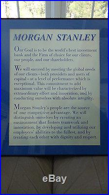 Morgan Stanley Vintage Corporate Motto Wall Plaque 27 inches by 22 inchers