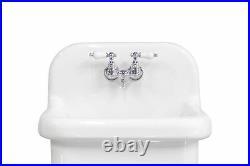 NEW Small Wall Mount Utility Sink Deep Basin Porcelain Farm Sink, White/Chrome
