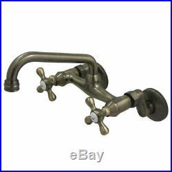 NIB Wall Mount Vintage Brass Bridge Kitchen Faucet by Kingston Brass