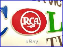 NOS Vintage RCA Victor COLOR TV Wall Sign Countertop Display Plaque Radio MINTY