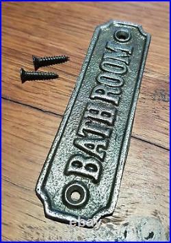 Natural Cast Iron Wall Mounted BATHROOM Plaque For Door Toilet Loo Garden Sign