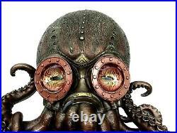 Nautical Steampunk Octopus Wall Plaque Statue Bronze Finish