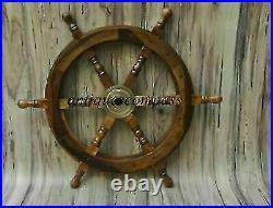 Nautical Wooden Ship Steering Wheel Pirate Decor Wood Brass Fishing Wall Boat18