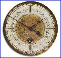 New 18 Weathered Brass Gold & White Pendulum Wall Clock Vintage Old World Style