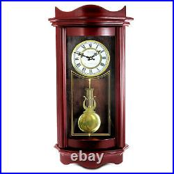 New Bedford Grandfather Weathered Cherry Wood 25 Wall Pendulum Clock 4 Chimes