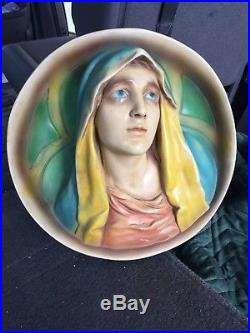 + Nice Vintage Plaster Wall Plaque of Mary + The Blessed Mother + chalice co. +