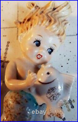 Norcrest Ceramic Mermaid Set Wall Hanging Plaques Figurines Mermaids Vintage