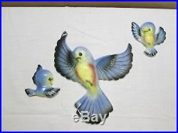 Norcrest Japan Blue Bird Family Vtg Wall Hanging Plaque