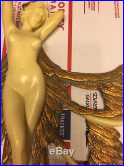 O. Tupton- Vtg Angel Fairy Nymph Figurine Plaque Statue Wall Hanging Nude-Mirror