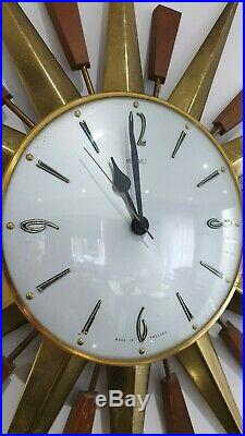 ORIGINAL, VINTAGE, 1960's, METAMEC, BRASS STARBURST/SUNBURST HANGING WALL CLOCK