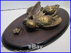 Old Game Bird Plaque three life size metal hanging birds wood wall mount ornate