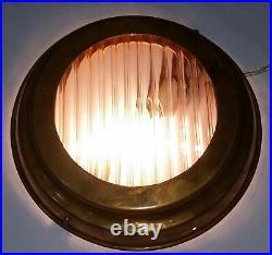 Old Vintage Art Deco Brass Glass Wall Ceiling Fixture Sconces Ship Light Lamp