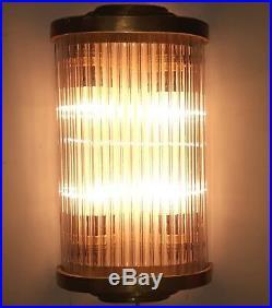 Old Vintage Art Deco Skyscraper Brass & Glass Rod Ship 4 Light Wall Sconces Lamp