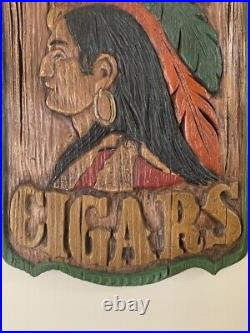 Old Vintage Chalkware Tobacco Cigars Store Indian Sign Wall Art Plaque Man Cave