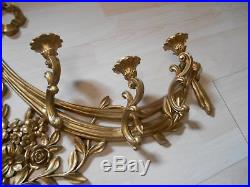 Old Vtg 1970 Syroco MOLDED GOLD CANDLE HOLDER Sconces Wall Hanging Plaque Decor