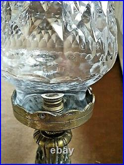 Original Vintage/Antique Brass Wall Light, Clear Cut Glass Shade Wired