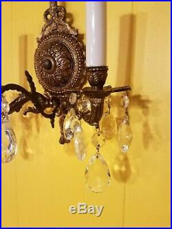 PAIR ANTIQUE VINTAGE BRASS BOW CHANDELIER Electric WALL SCONCES CRYSTALS Prisms