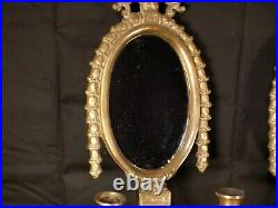 PAIR BIG Vintage Brass Mirrored Double Arm French Louis XVI Candle Wall Sconce A