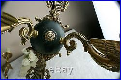 PAIR French vintage empire 50's Wall lights plaques brass swan arms no1
