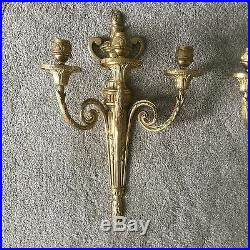 PAIR Vintage Antique Brass Bronze French Empire Regency 3 Arm Lamp Wall Sconces
