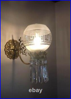 PAIR Vintage Brass Crystal Wall Sconce Victorian Greek Key Shade Gasolier