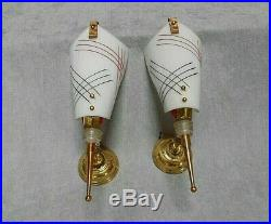 PAIR Vintage FRENCH mid-century modernist brass Wall LIGHT SCONCES