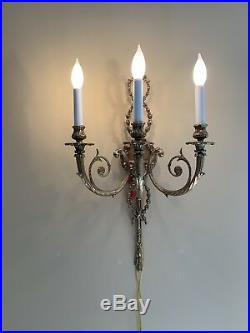 PAIR Vintage French Adams Style Brass Tassel Wall Sconce Sconces 26 4 AVAIL