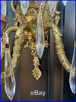 PAIR Vintage French Brass 5 Light Wall Sconce Crystal Candelabra