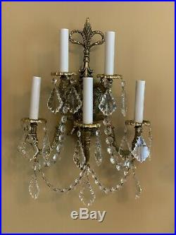 PAIR Vintage French Brass 5 Light Wall Sconce Crystal Candelabra Sconces