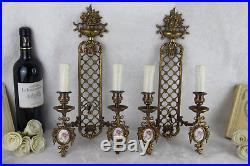 PAIR Vtg French limoges porcelain floral plaques wall lights sconces brass