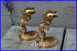 PAIR french vintage brass empire design swan animal figural wall lights sconces