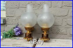 PAIR vintage 1960 French brass metal Lion head wall lights sconces glass globe