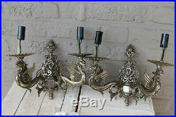 PAIR vintage Brass silver patina Dragon gothic castle sconces wall lights 1960
