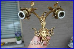 PAIR vintage French brass Caryatid Medusa portrait head wall lights sconces