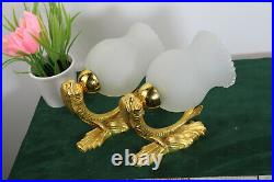PAIR vintage empire brass dolphin fish wall lights opaline glass shades sconces