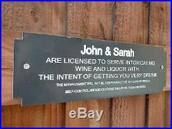 PERSONALISED Acrylic BAR SIGN plaque 28cm x 9.5 cm MAN CAVE LICENSED TO SERVE