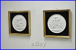 Pair 16 Framed Bisque Relief Eneret Wall Plaques Royal Copenhagen 4 Seasons vtg