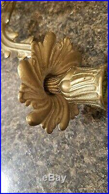 Pair (2) Vintage Antique Brass/Bronze, French Style Candle Wall Sconces