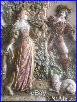 Pair(2) Vintage Historismus Der Trompeter Von Sackingen Plaster Wall Plaques