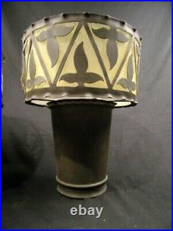 Pair 2 Vintage Wall Sconces Up Spanish Revival Lights 30's Brass Bronze 14