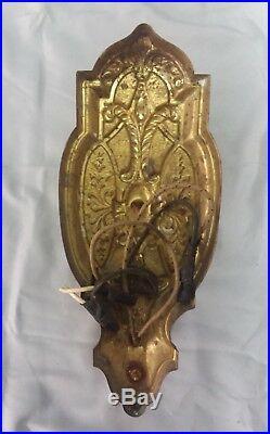 Pair Antique Decorative Vintage Brass Wall Light Sconce 125-18F