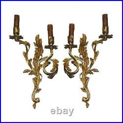 Pair Antique Replica Brass European Ornate Candle Holders Wall Sconces Lamps