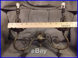 Pair Antique Vintage Brass Gas Electric Combination Wall Sconces ca. 1900