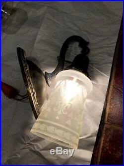 Pair Antique Vintage Brass Sconce Wall Light Fixture & Original Glass Shades
