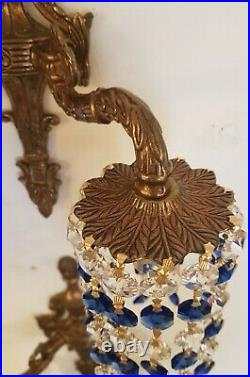 Pair Crystal Down Light Wall Sconces, Vintage with Sapphire Blue & Clear Crystal