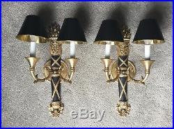 Pair French Empire Bronze Brass Bouillotte Lamp Wall Sconce Sconces Vintage Bird