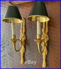 Pair French Empire Dore Bronze Hunt Horn Bouillotte Wall Sconce Sconces Vintage