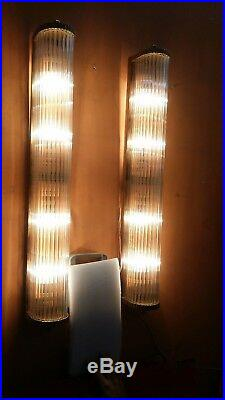 Pair Large Old Vintage Art Deco Brass & Glass Rod Ship 4 Light Wall Sconces Lamp